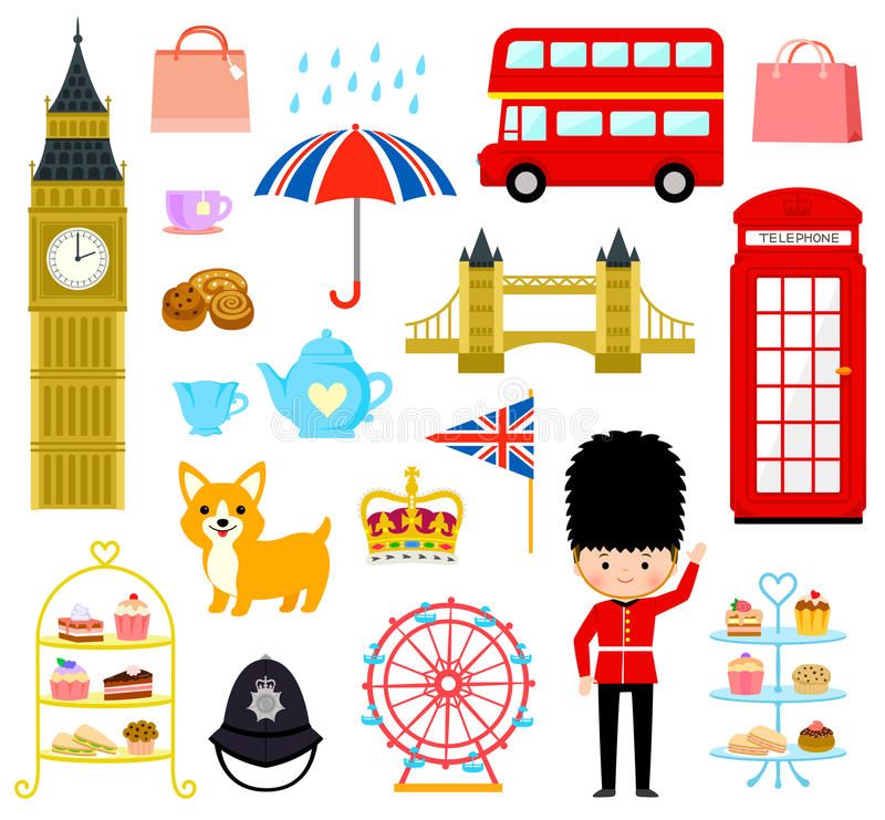London cartoons set. Set of cute cartoons related to London and Britain stock illustration