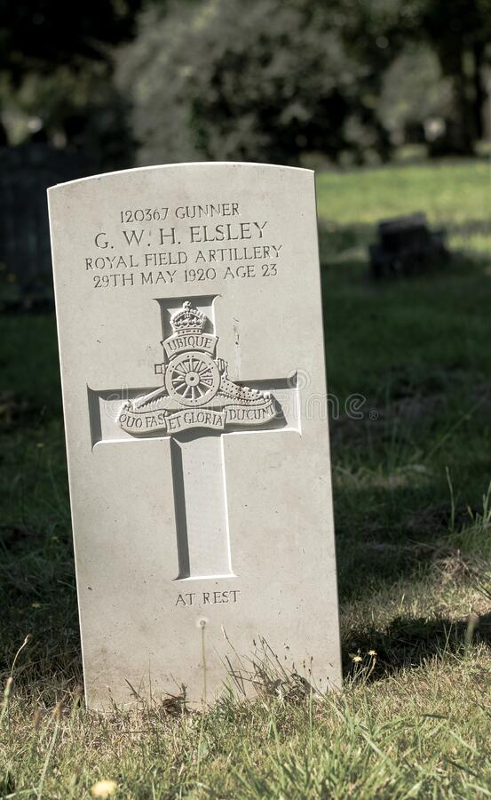 London Cemetary. Hounslow. Grave of a soldier. London. United Kingdom. 2017. Grave of a British solder who died soon after World War I ended stock photography