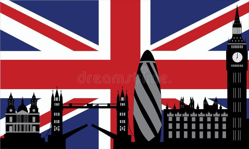 london chorągwiana linia horyzontu royalty ilustracja