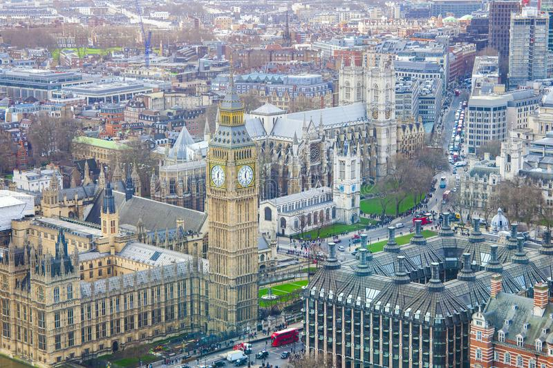 London city with Big Ben landmark. Aerial view royalty free stock photography