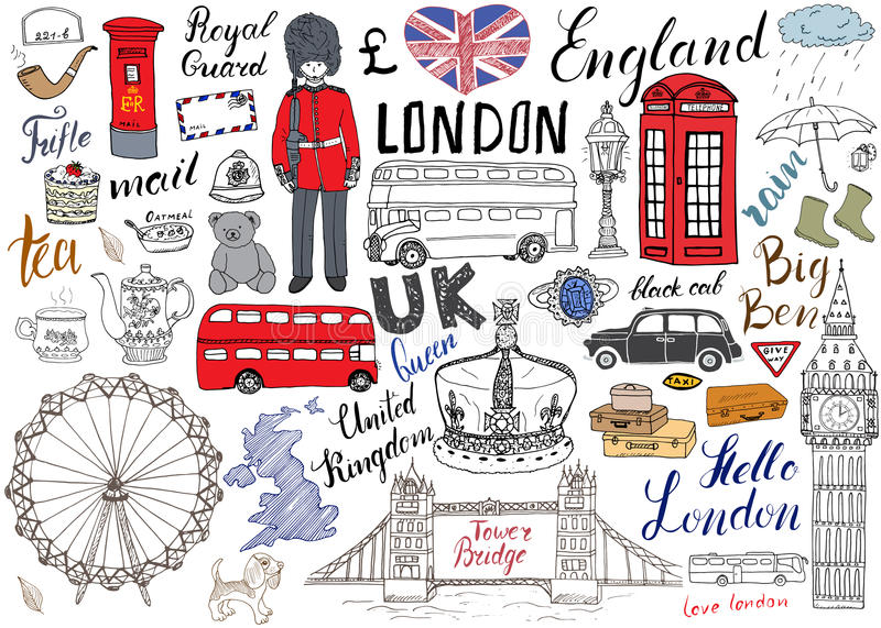 London city doodles elements collection. Hand drawn set with, tower bridge, crown, big ben, royal guard, red bus and black cab, UK stock illustration
