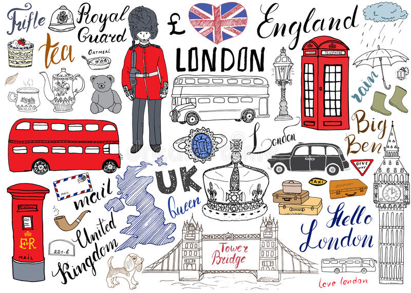 London city doodles elements collection. Hand drawn set with, tower bridge, crown, big ben, royal guard, red bus and cab, UK map a. Nd flag, tea pot, lettering royalty free illustration