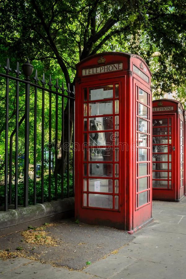 London city / England: Telephone booth near Russell Square in spring royalty free stock photography