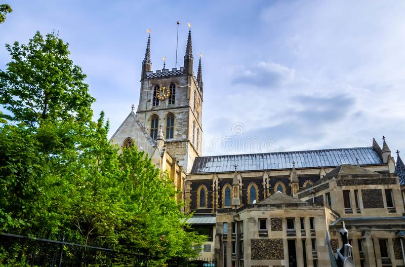 London city / England: View on Southwark Cathedral in London royalty free stock images