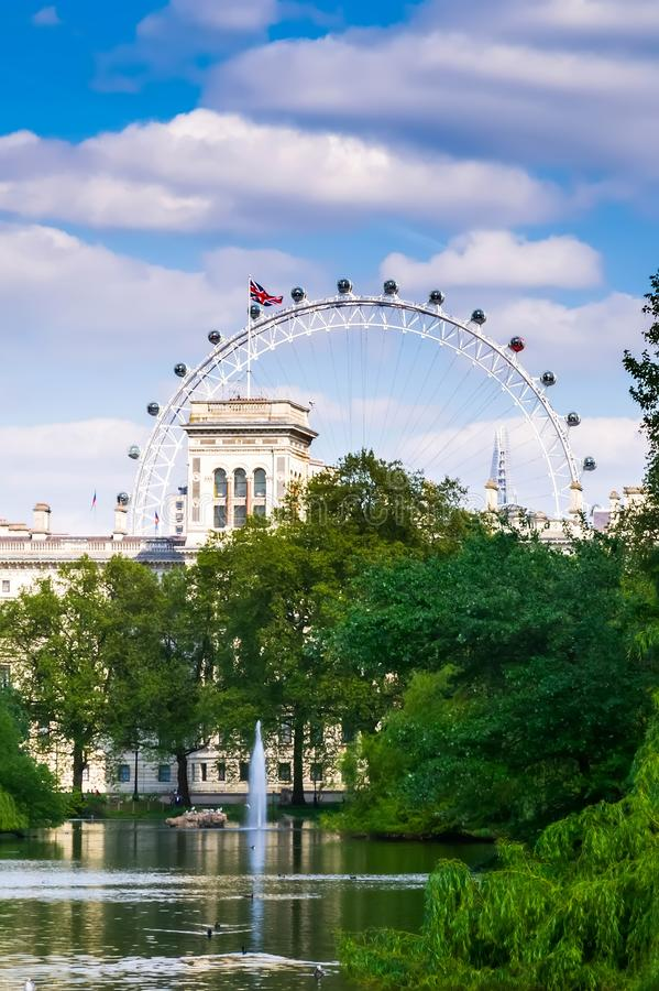 London city / England: View from St. James Park on London Eye royalty free stock photos