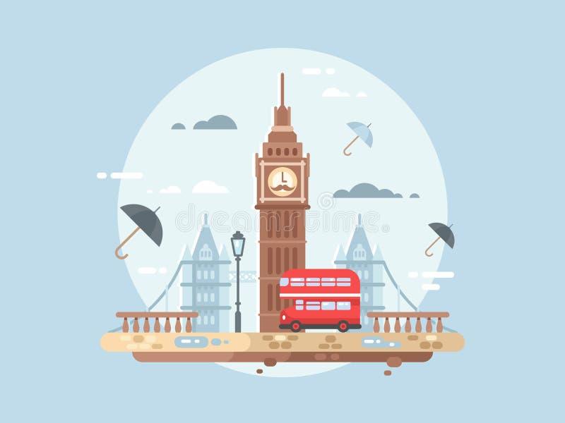 London city flat. Big ben tower and british bus, vector illustation stock illustration