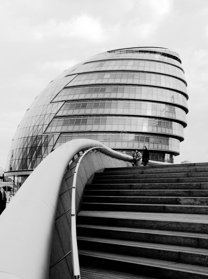 London city hall. A black and white picture of the London city hall stock photo