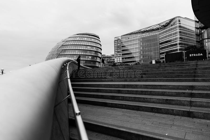 London city hall. A black and white picture of the London city hall. London, UK. May 2017 stock photo