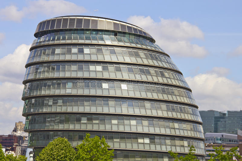 London City Hall Building. The building has an unusual, bulbous shape, intended to reduce its surface area and thus improve energy efficiency stock images