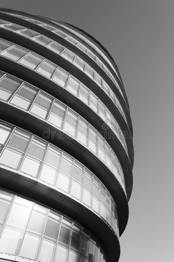 London City Hall. Building in black and white stock image