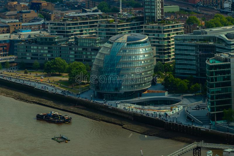 London City Hall and buildings on the south bank of the river Thames. London, United Kingdom - May 23, 2018 stock images