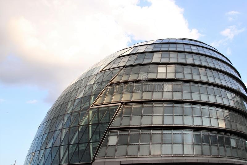 London City Hall - Modern UK Architecture. London City Hall, a famous city landmark housing the Mayor of London and the London Assembly. Headquarters of the stock images
