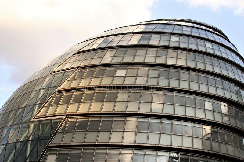 London City Hall - Modern UK Architecture Landmark. London City Hall, a famous city landmark housing the Mayor of London and the London Assembly stock photo