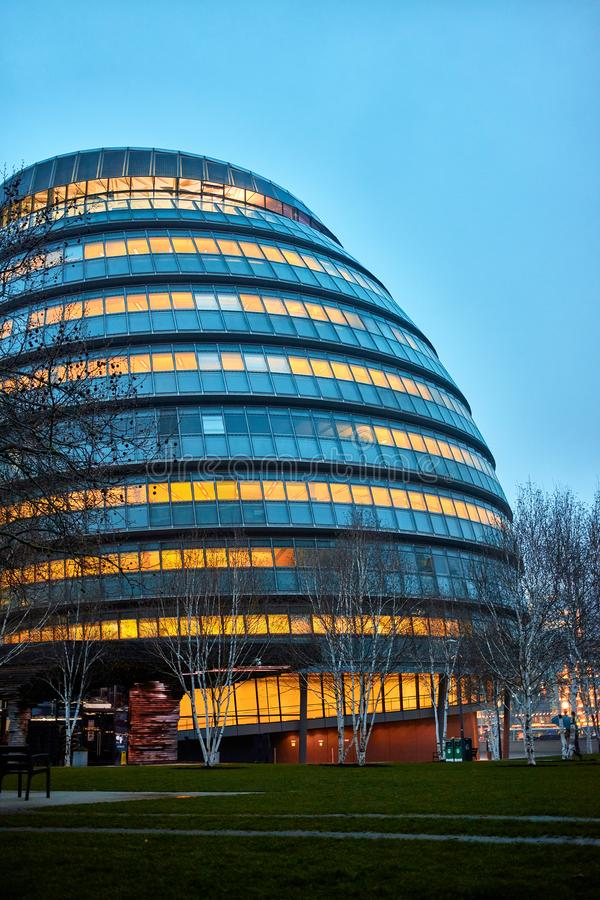 London city hall. Night view of London city hall royalty free stock images