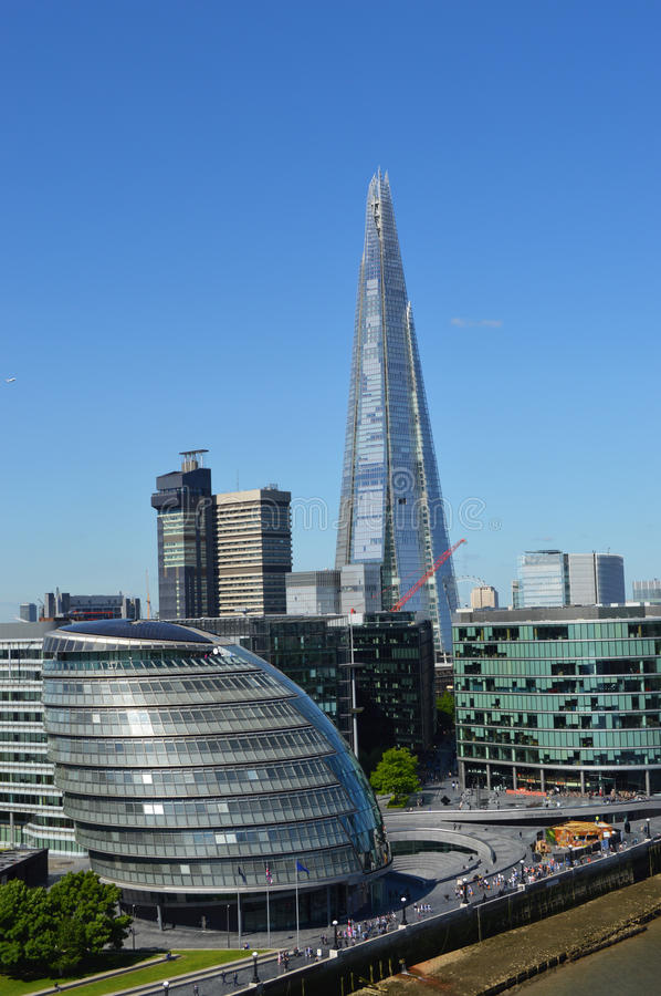 London city hall panorama. And the shard stock images