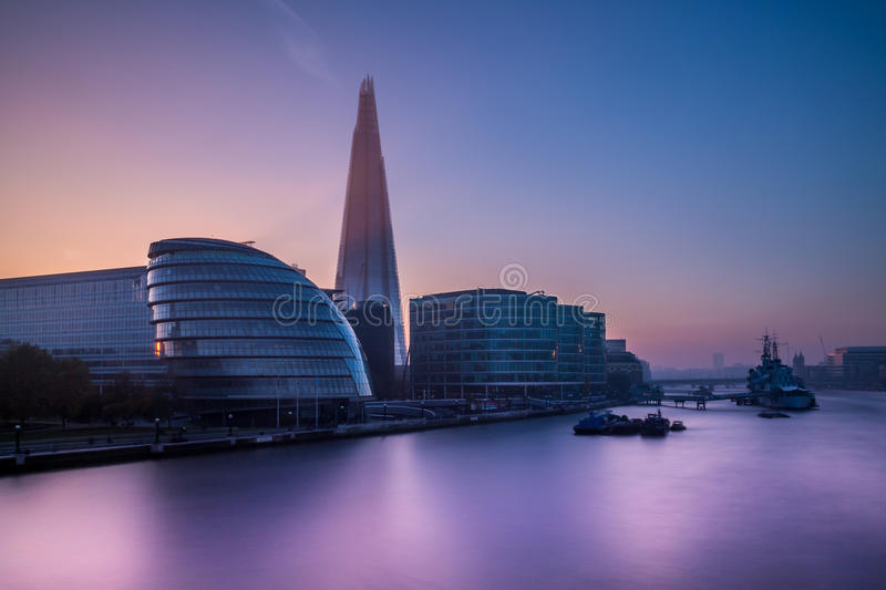 London City Hall and Shard. As seen from Tower Bridge stock photo