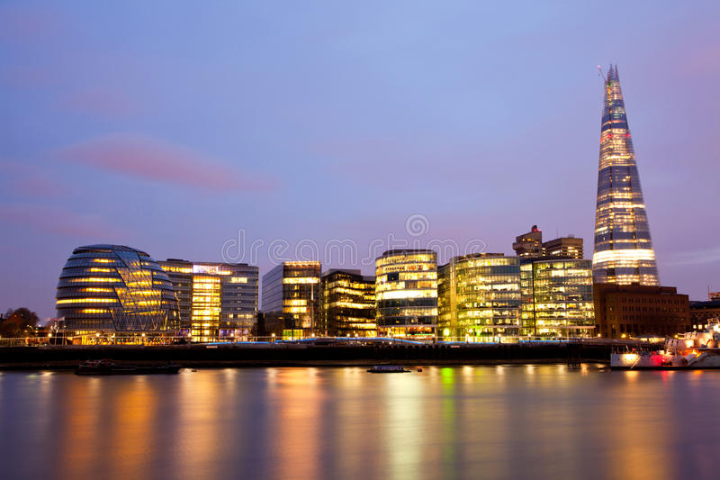 London City Hall Skylines. Along River Thames at Dusk, England UK stock photos