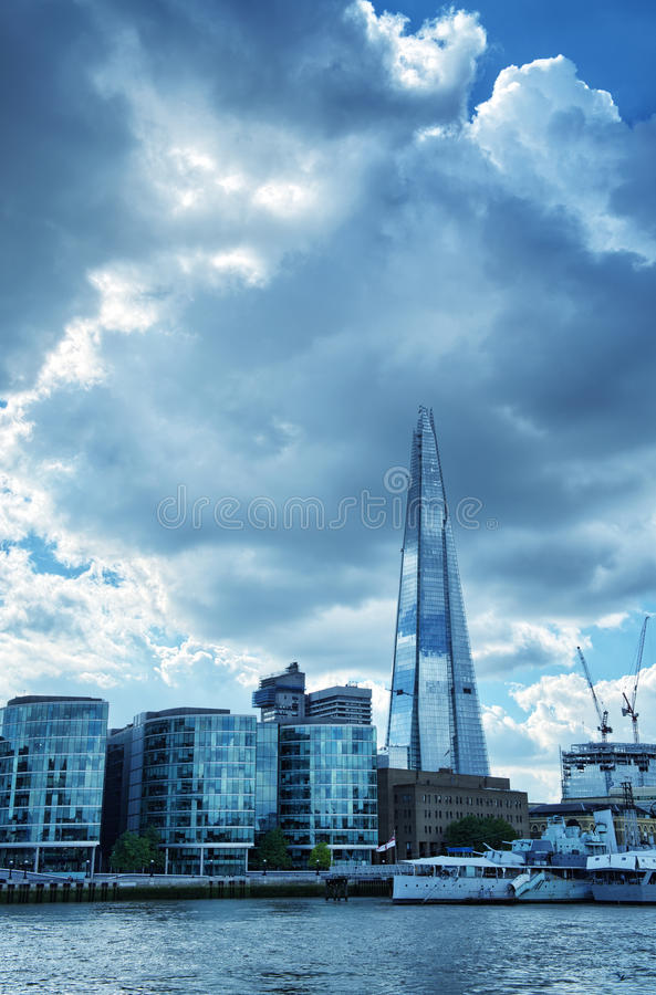 London City Hall Skylines along River Thames. Against blue sky, England UK royalty free stock image