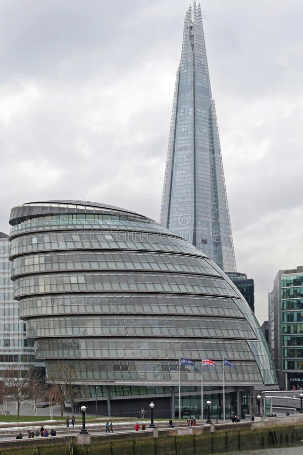 London City Hall. London, United Kingdom - January 25, 2013: City Hall Building and The Shard Skyscraper at Southwark in London, UK royalty free stock image