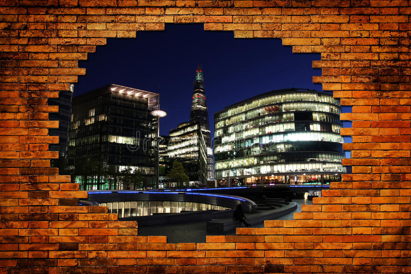 London city in hole with wall brick. New London city in hole with old wall brick royalty free stock photography