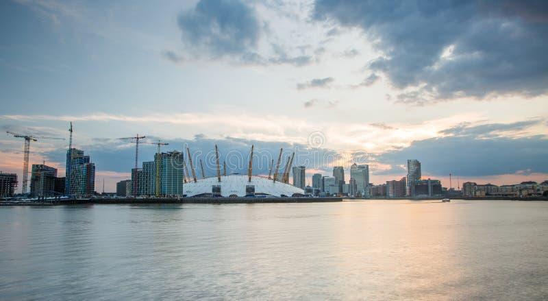 London city o2 arena skyline panorama stock photos