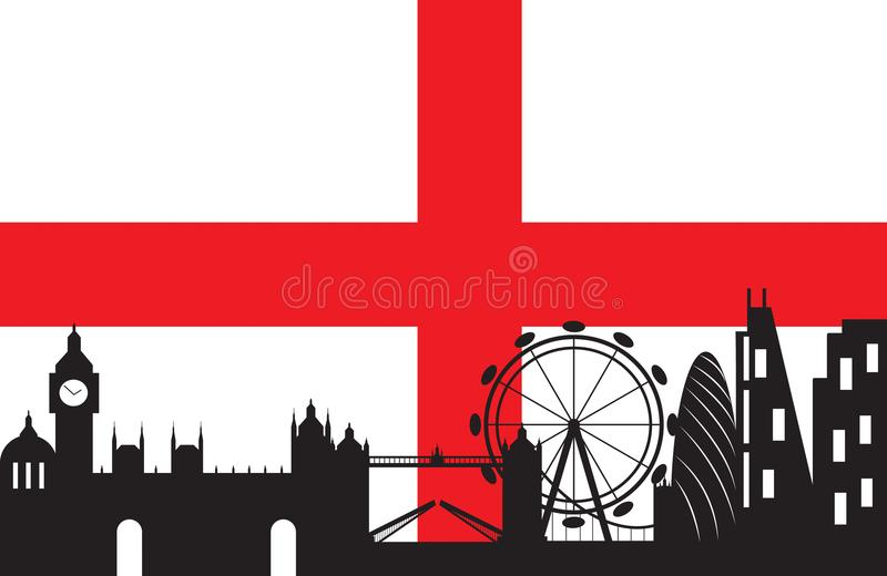 Download London City Silhouette Skyline With England Flag Stock Vector