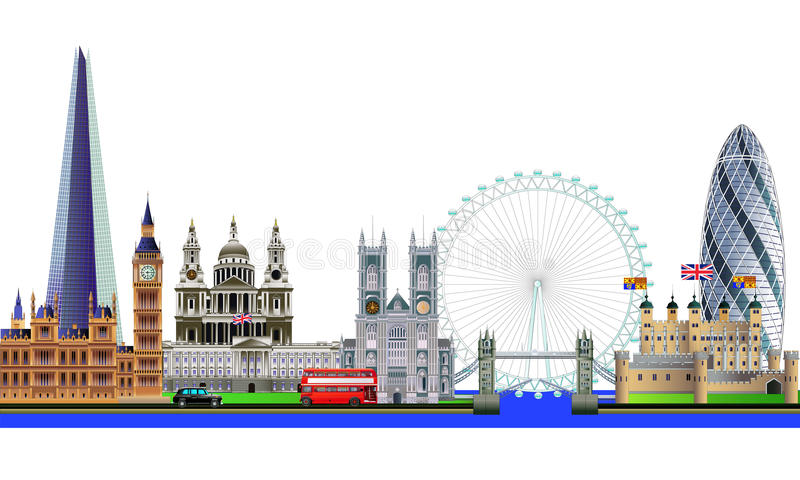 London city skyline abstract vector color illustration. Isolated royalty free illustration