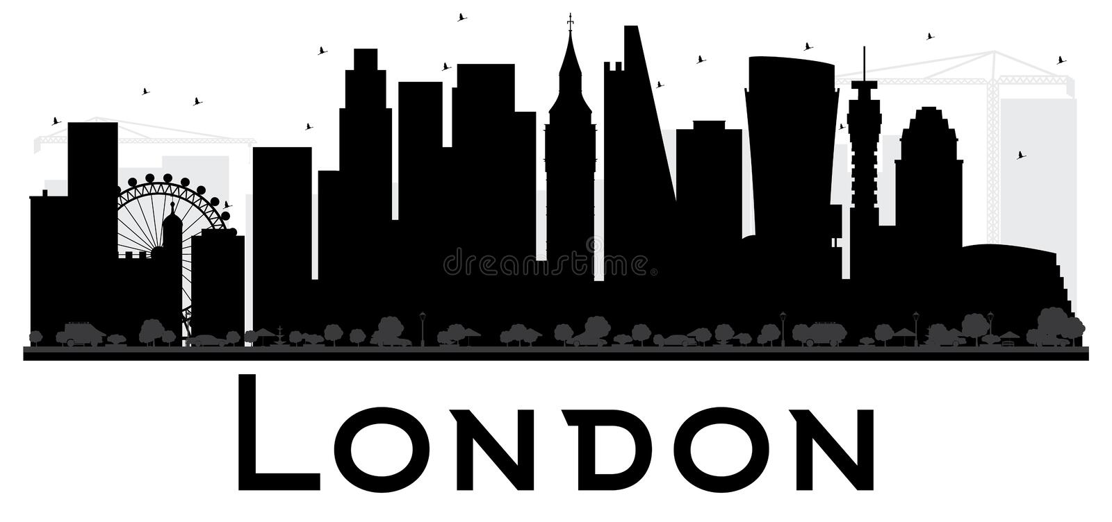 Download London City Skyline Black And White Silhouette Stock Vector