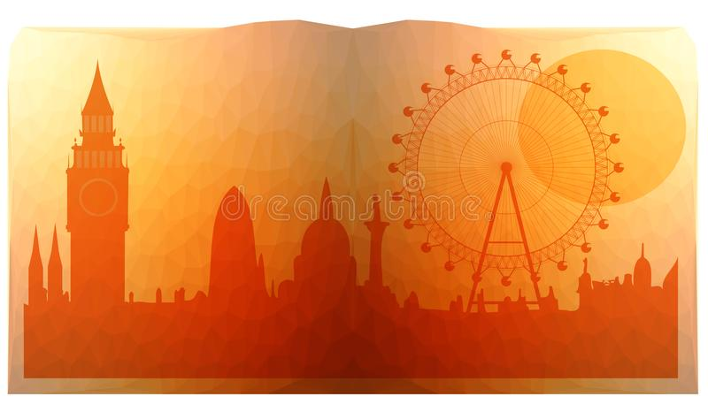 London city skyline look like in open book. Triangulated vector illustration