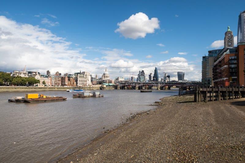 London City Skyline near Southwark Bridge royalty free stock image
