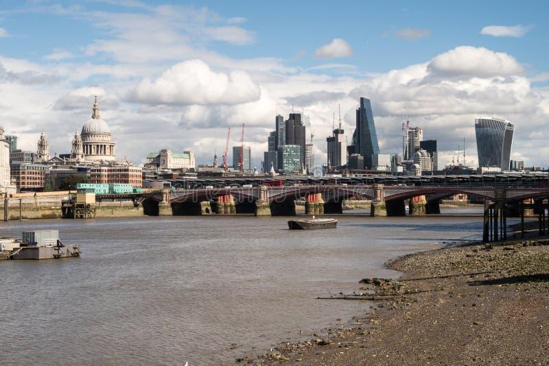 London City Skyline near Southwark Bridge royalty free stock photo