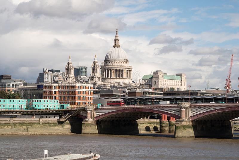 London City Skyline near Southwark Bridge stock image