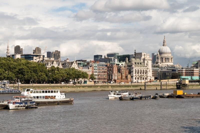 London City Skyline near Southwark Bridge royalty free stock photos