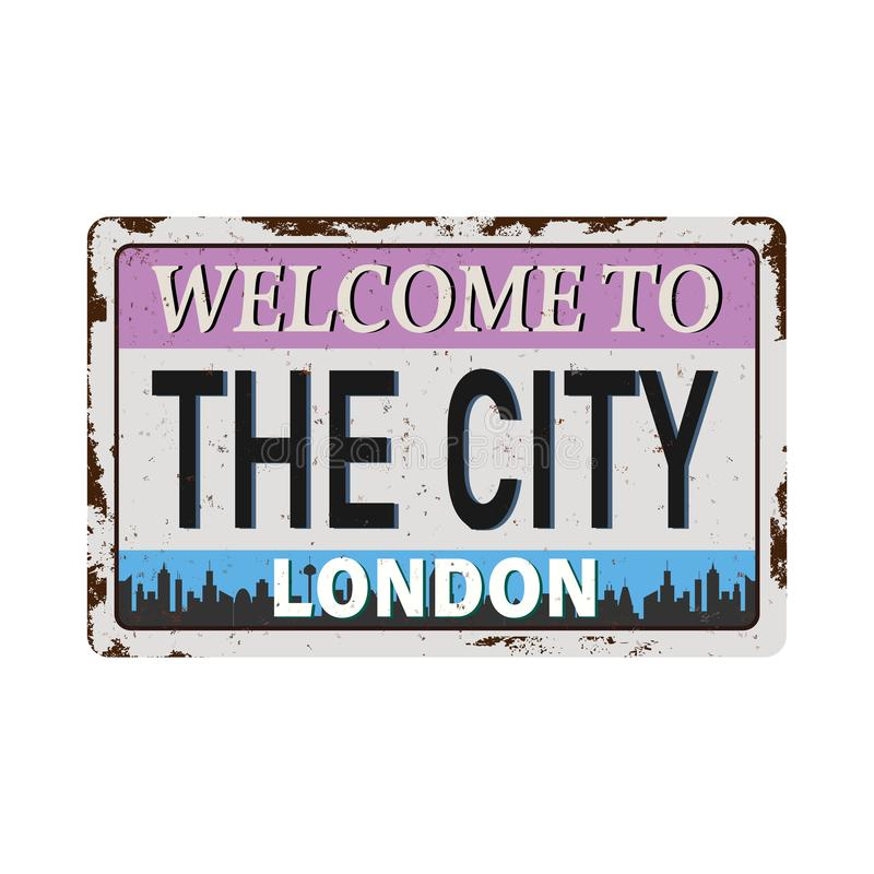 London City Skyline RUSTED VINTAGE GRUNGY PLATE SIGN royalty free illustration