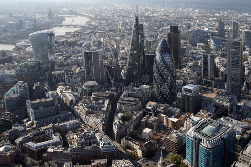 London city skyline view from above stock photography
