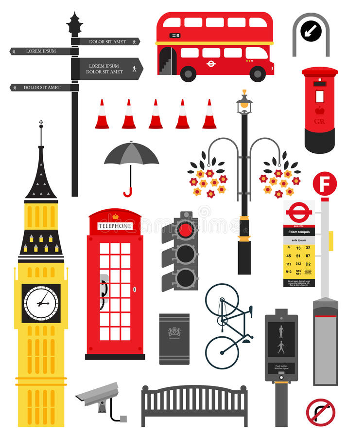 London city street icon set vector illustration