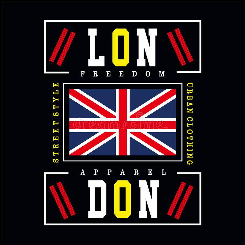 London city typography design for t shirt royalty free illustration