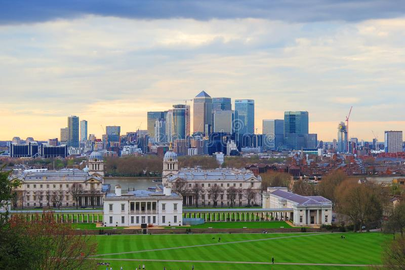 London city view at business center Canary Warth and Greenwich royalty free stock photography