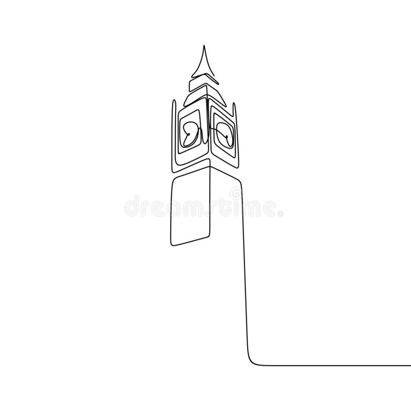 London City of Westminster Big Ben clock tower one line drawing minimalist design. Illustration vector isolated sketch graphic continuous linear art hand drawn vector illustration