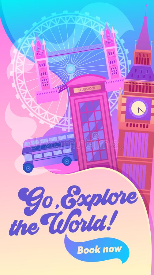 London Cityscape with All Famous Building Color Image. Around World Travel Concept Banner. Red Bus, Big Ben, Phone Booth, Tower stock illustration