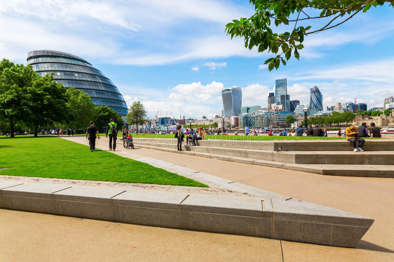 London cityscape seen from the Thames promenade at Southwark stock photography