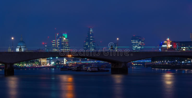 London Cityscape Through Waterloo Bridge stock images