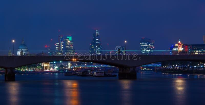 London Cityscape Through Waterloo Bridge stock images