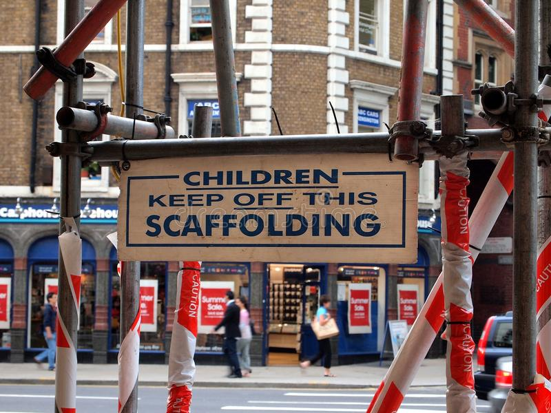 Construction Scaffolding and Warning Signs, London, UK royalty free stock images