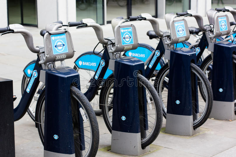 London cycle hire scheme bikes royalty free stock photography