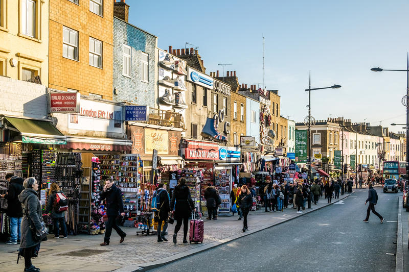 LONDON - DEC 9 : Busy Street at Camden Lock in London on Dec 9, royalty free stock image