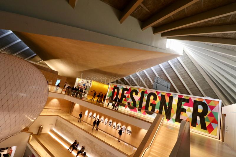 London Design Museum, Interior Foyer. Designer exhibition in the London design Museum stock image