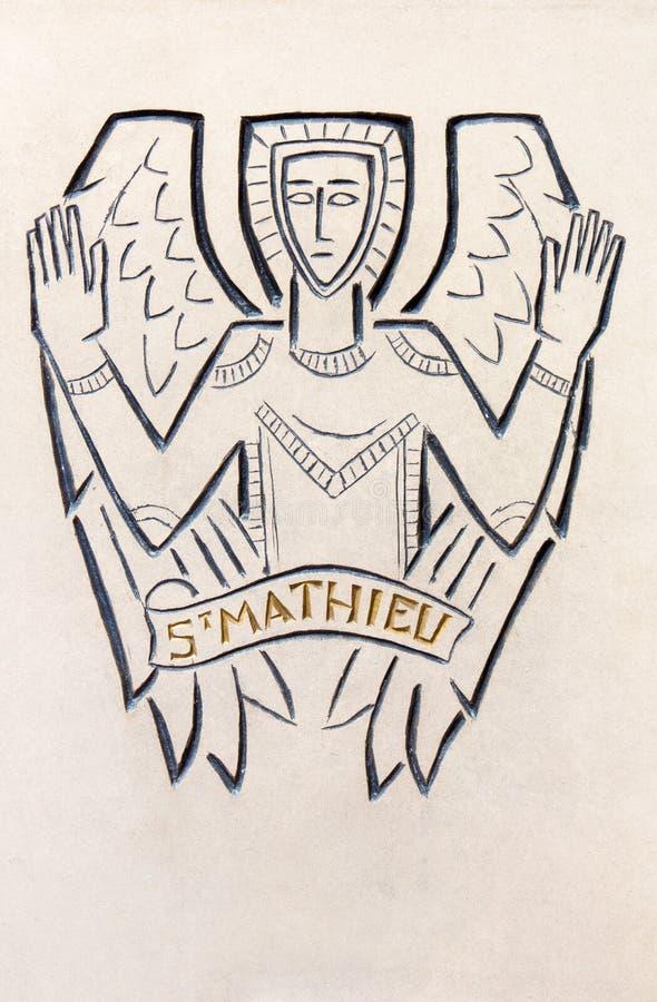 London The Detail Of Modern St Matthew The Evangelist Symbol