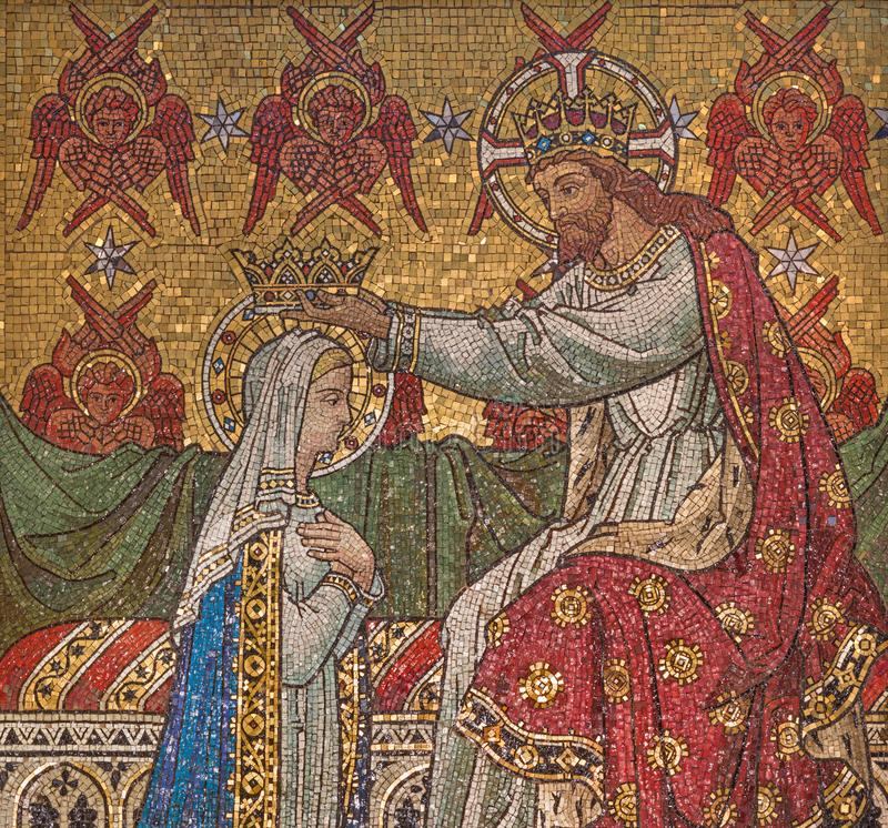 London - The detail of mosaic of Coronation of Virgin Mary in sanctuary of church Immaculate Conception, Farm Street. LONDON, GREAT BRITAIN - SEPTEMBER 18, 2017 stock images