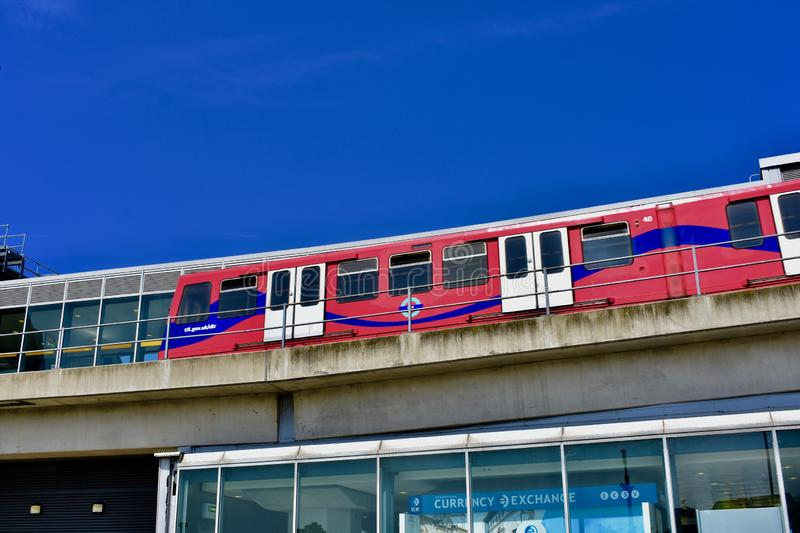 London DLR overhead train service royalty free stock image